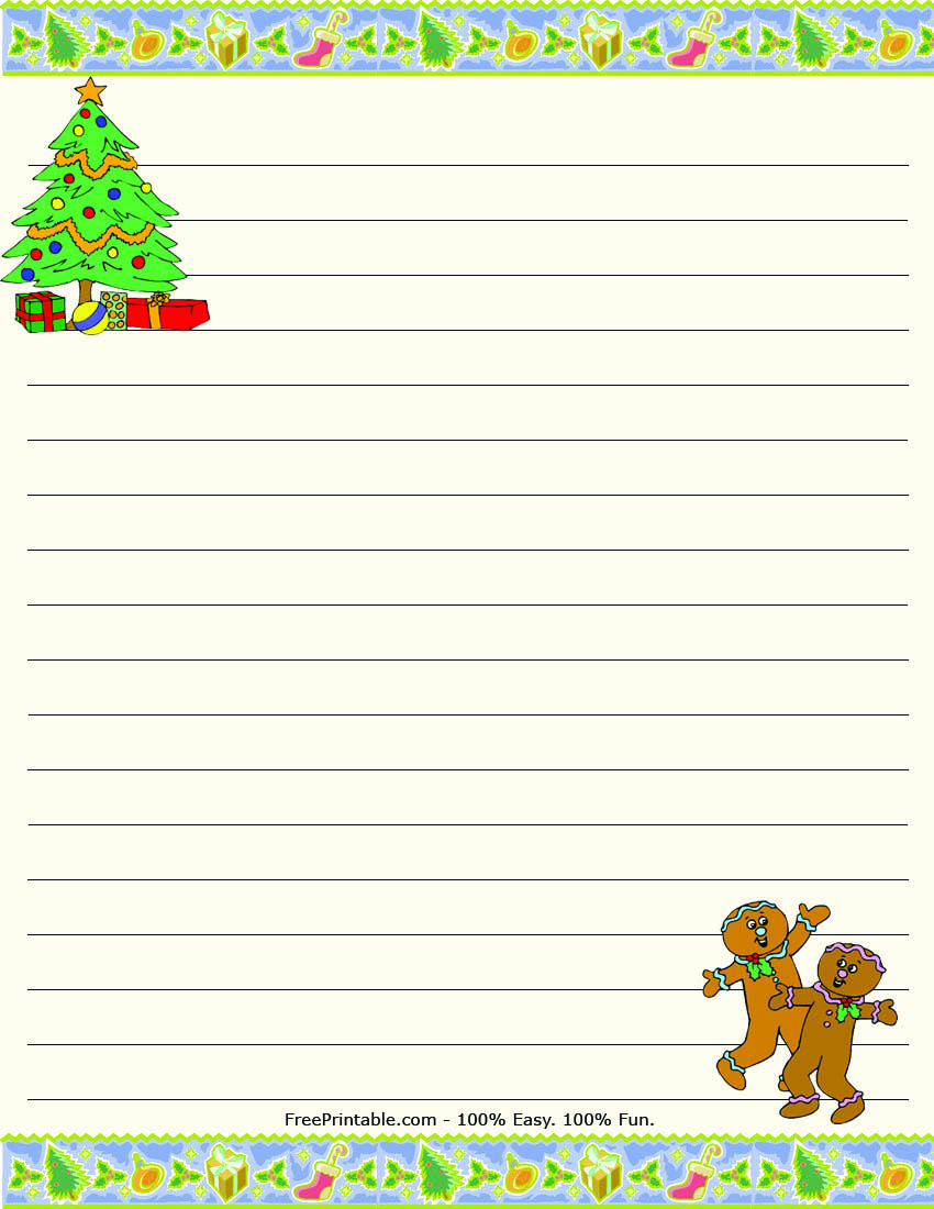 image relating to Free Printable Writing Paper With Borders titled Xmas Composing Paper With Border Amusement and activity