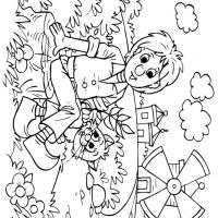 Boy and Cat Relaxing in the Field Coloring Sheet