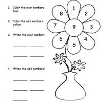 Grade 1 Math- Color the Flower Odd and Even