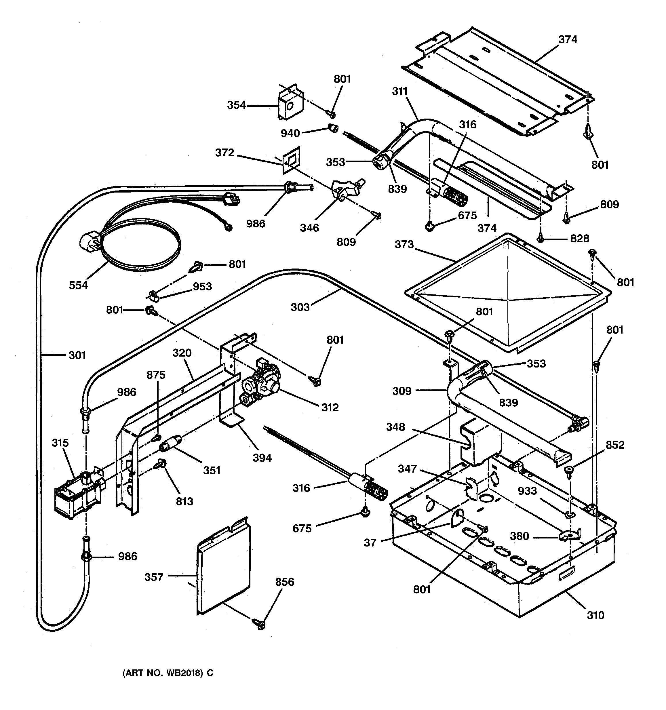 assembly view for gas burner