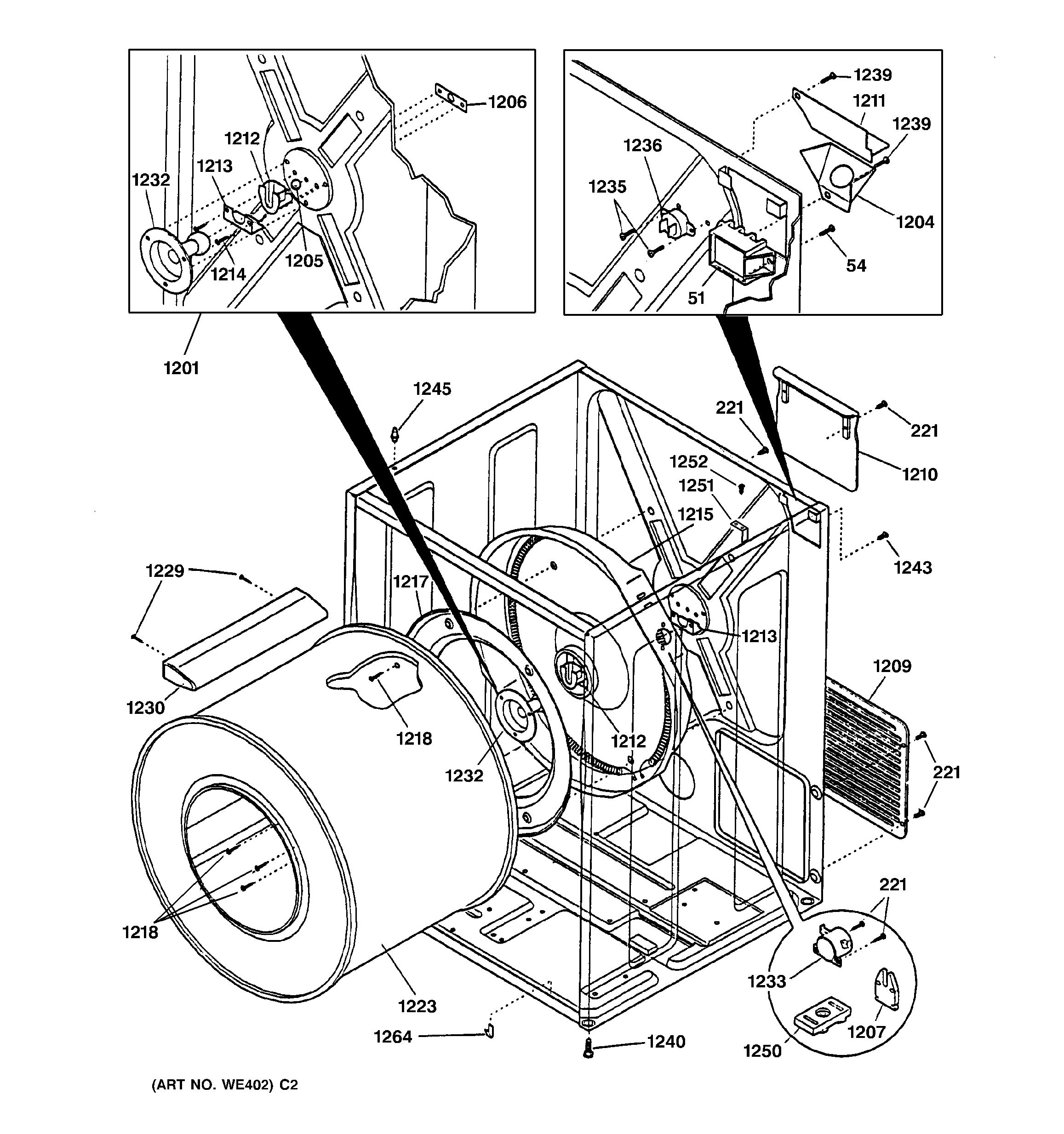 general electric refrigerator parts diagram jeep liberty front suspension assembly view for cabinet and drum dcd330ey0ac