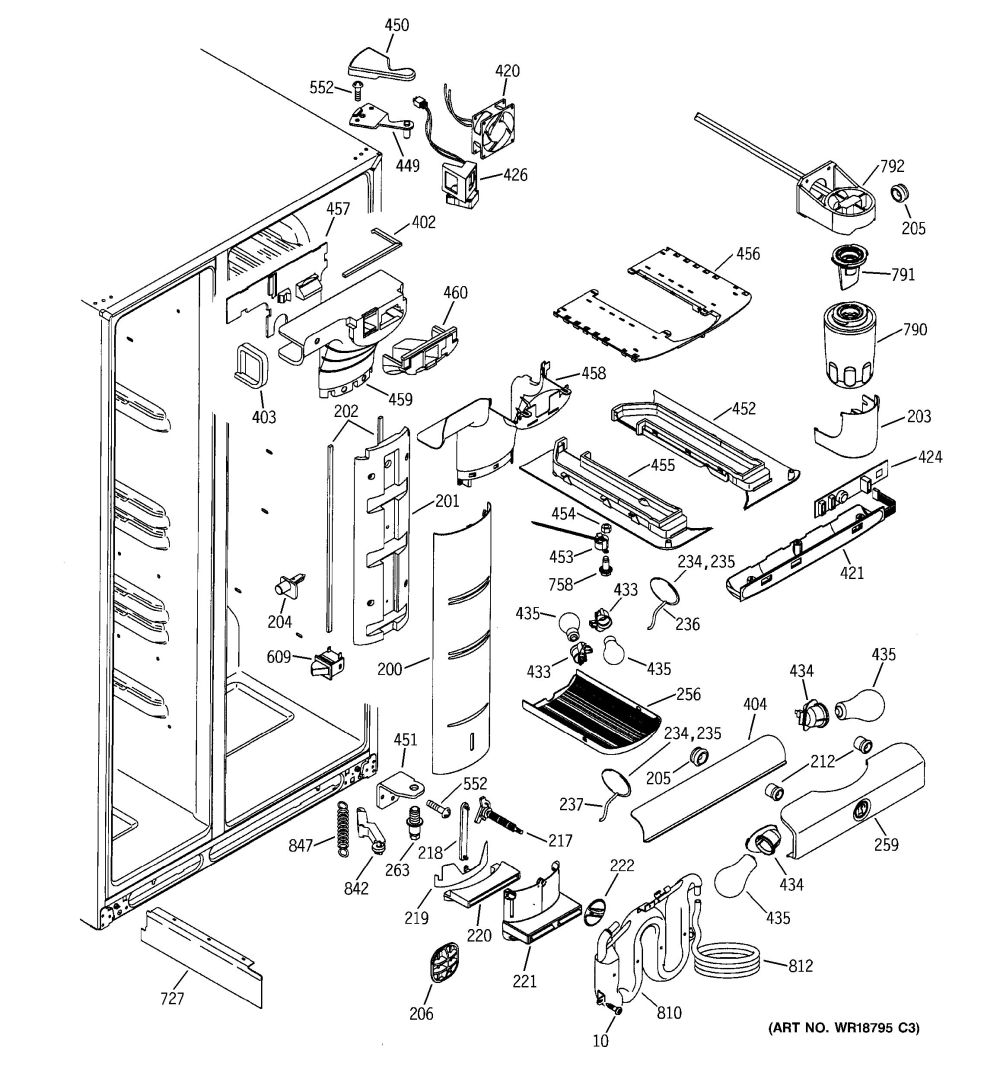 medium resolution of the control panel ge frame 7 parts assembly view for fresh food section