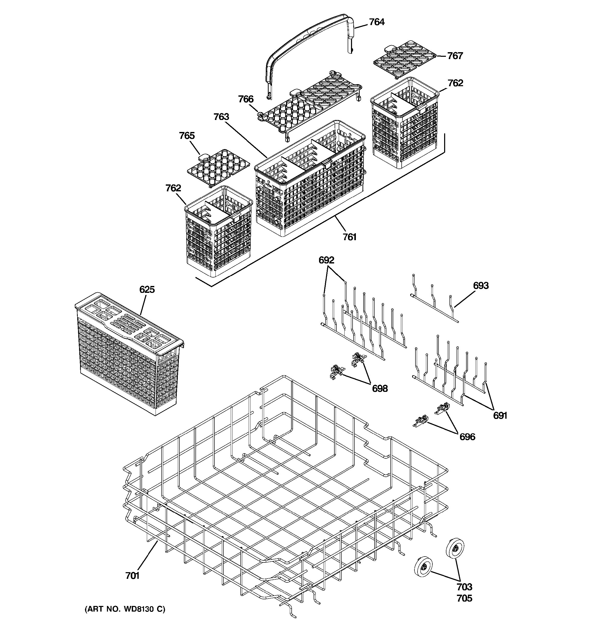 ge dishwasher parts diagram c3 wiring assembly view for lower rack pdw9880j00ss