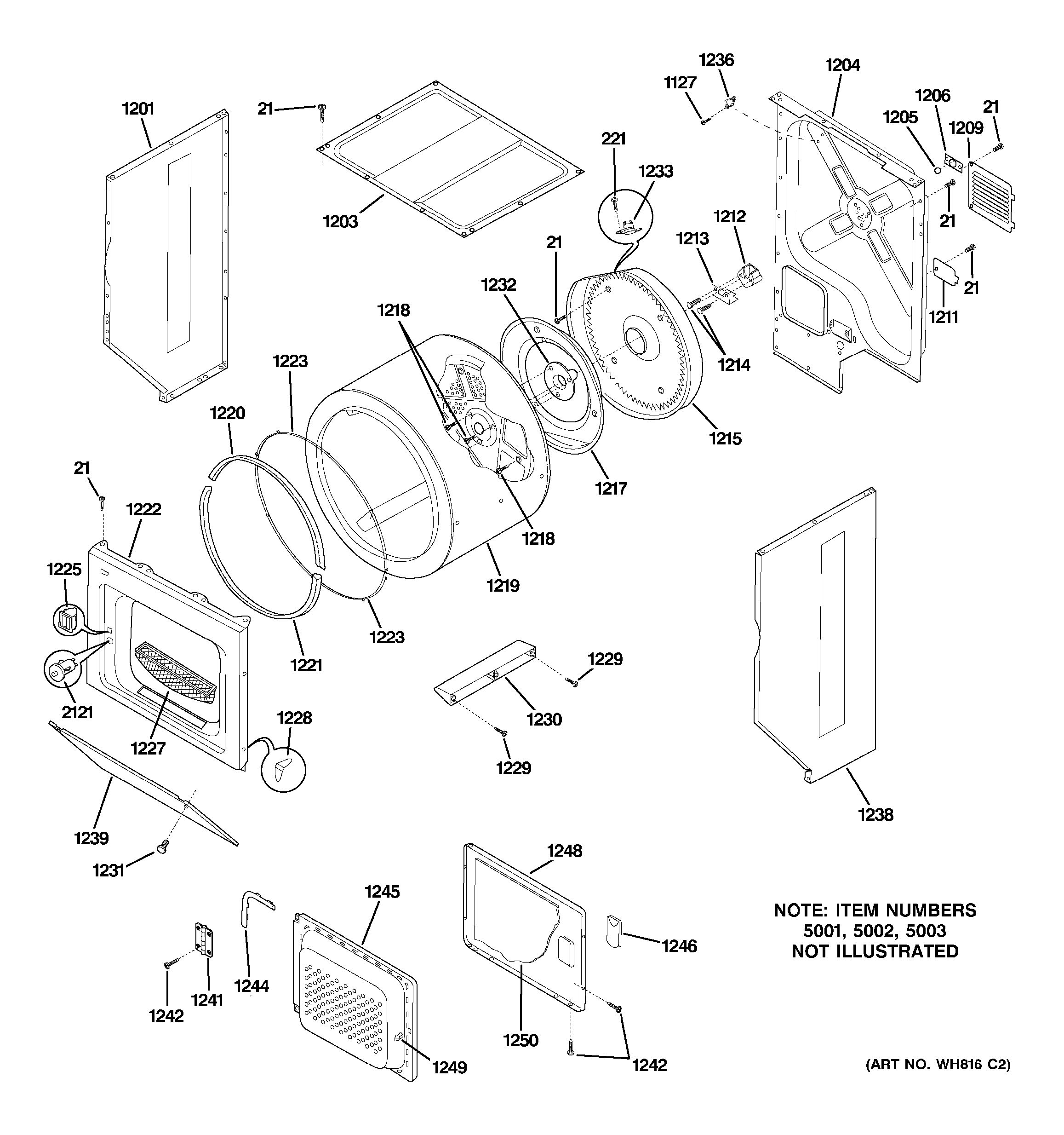 Assembly View for DRYER UPPER CABINET, DRUM & HEATER