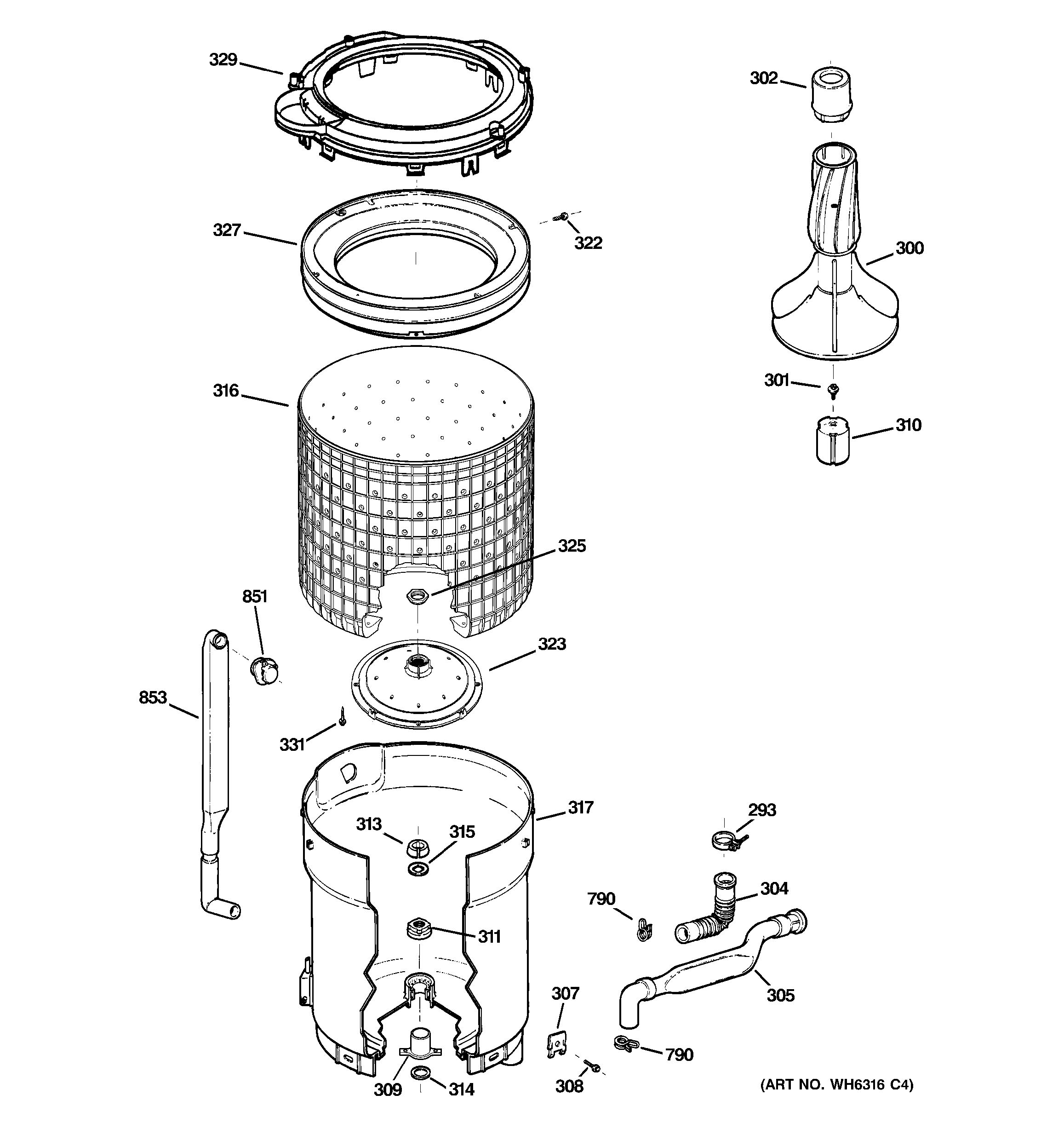 Assembly View For Tub Basket Amp Agitator