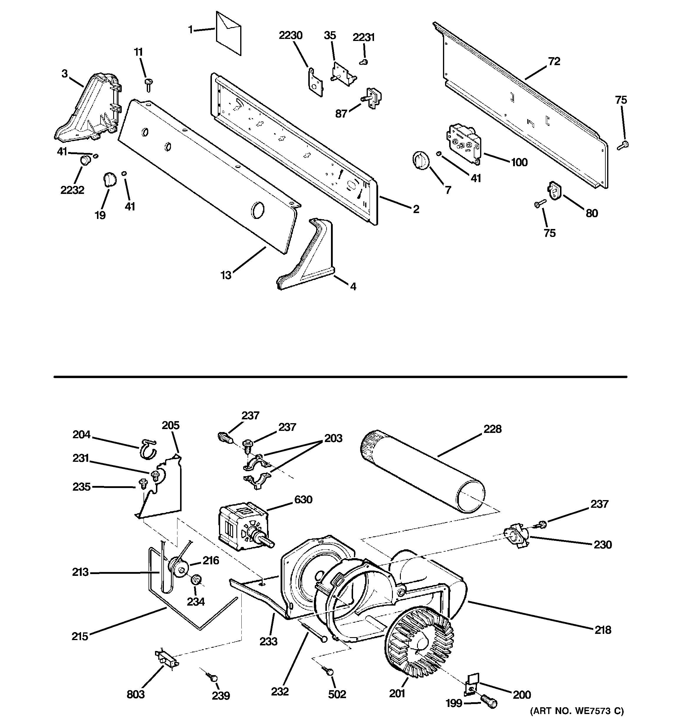 Assembly View For Controls Backsplash Blower Amp Motor