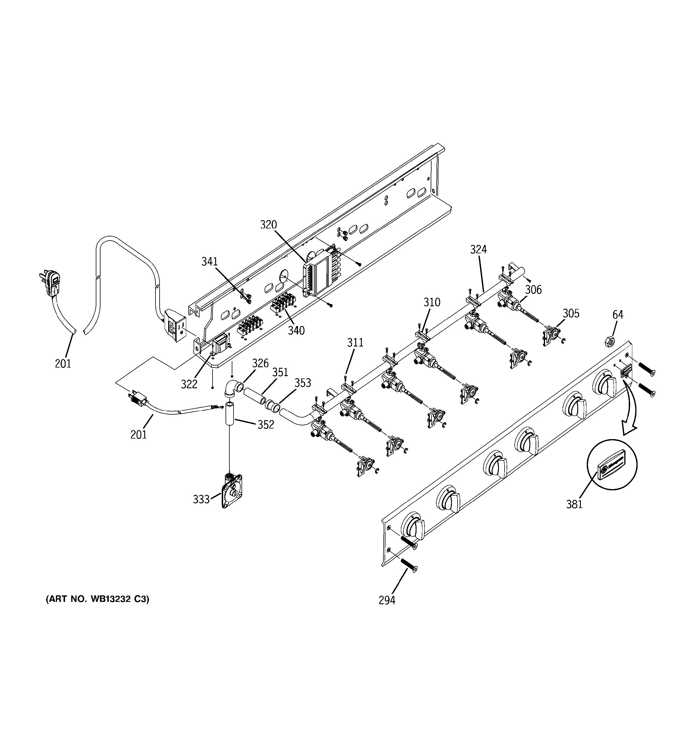 manifold assembly diagram and parts list for ge rangeparts model