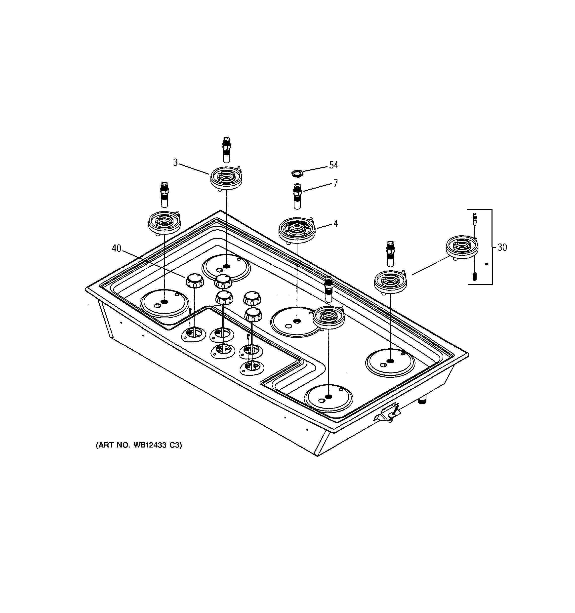 Assembly View For Cooktop Amp Burners