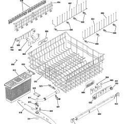 Ge Dishwasher Parts Diagram Mitsubishi Plc Wiring Assembly View For Upper Rack Pdw7800p00ww
