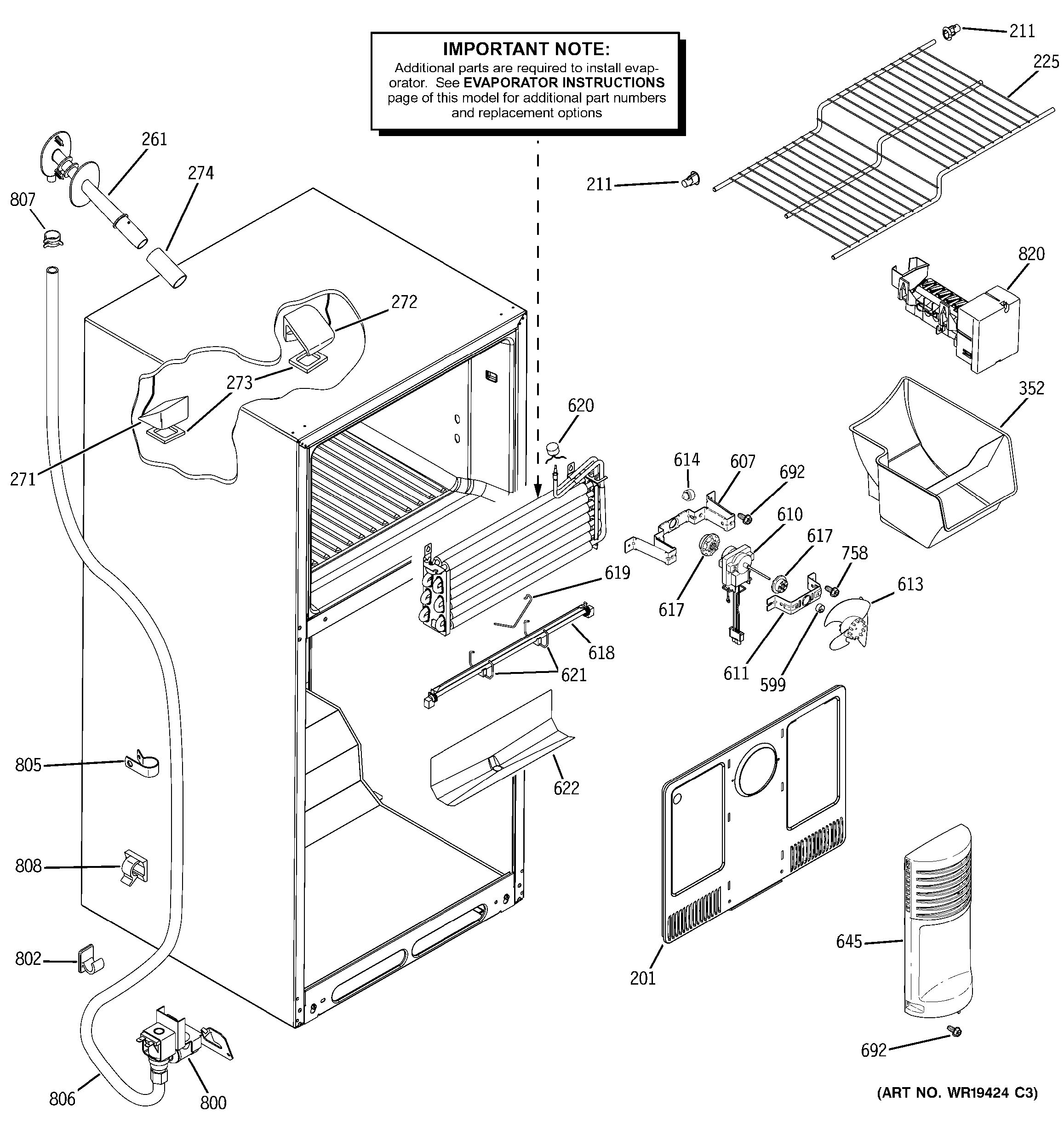 ge dishwasher parts diagram 2001 ford taurus assembly view for freezer section gth18dcrarww