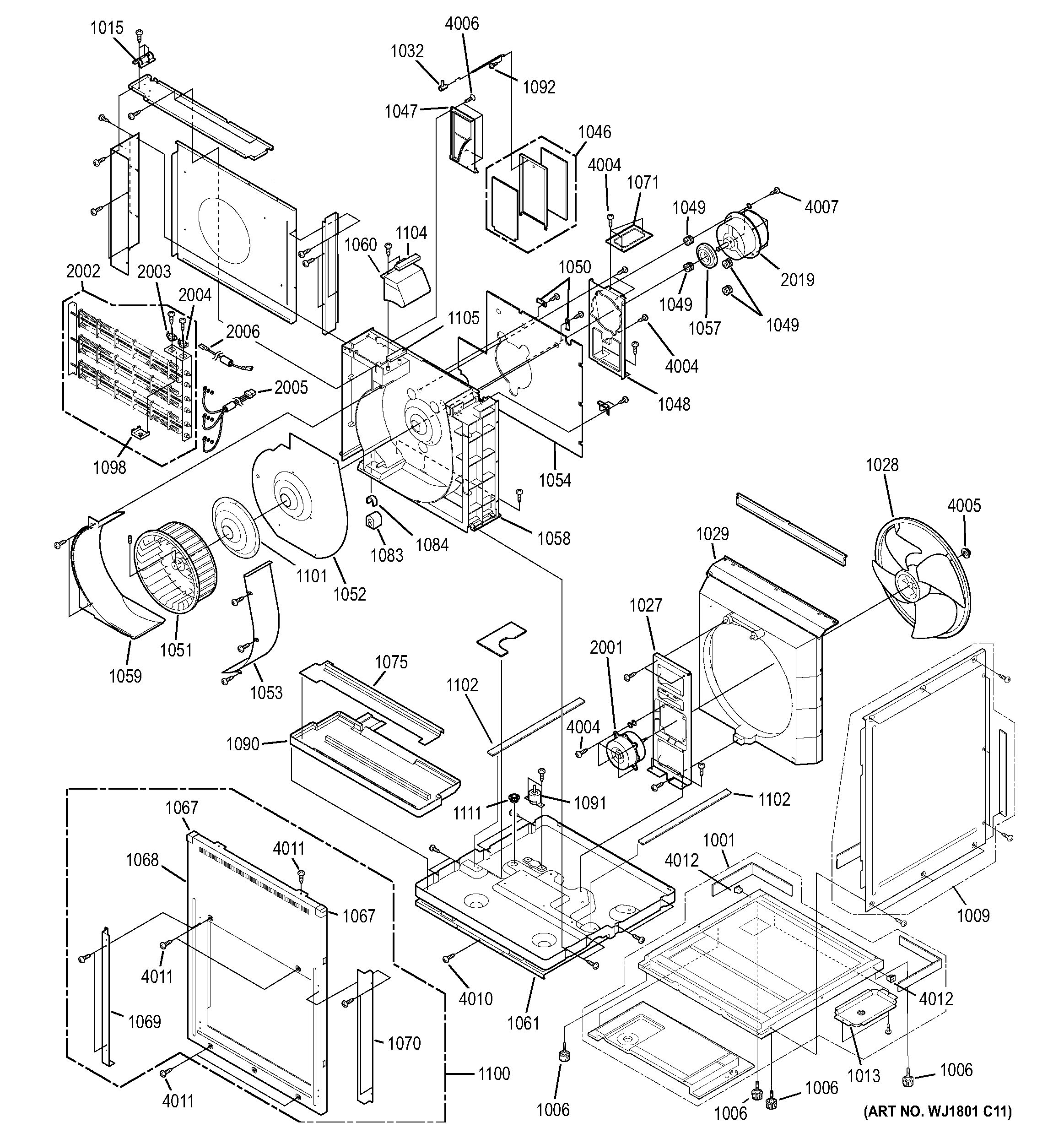 Assembly View for MOTOR, HEATER & BASE PAN PARTS