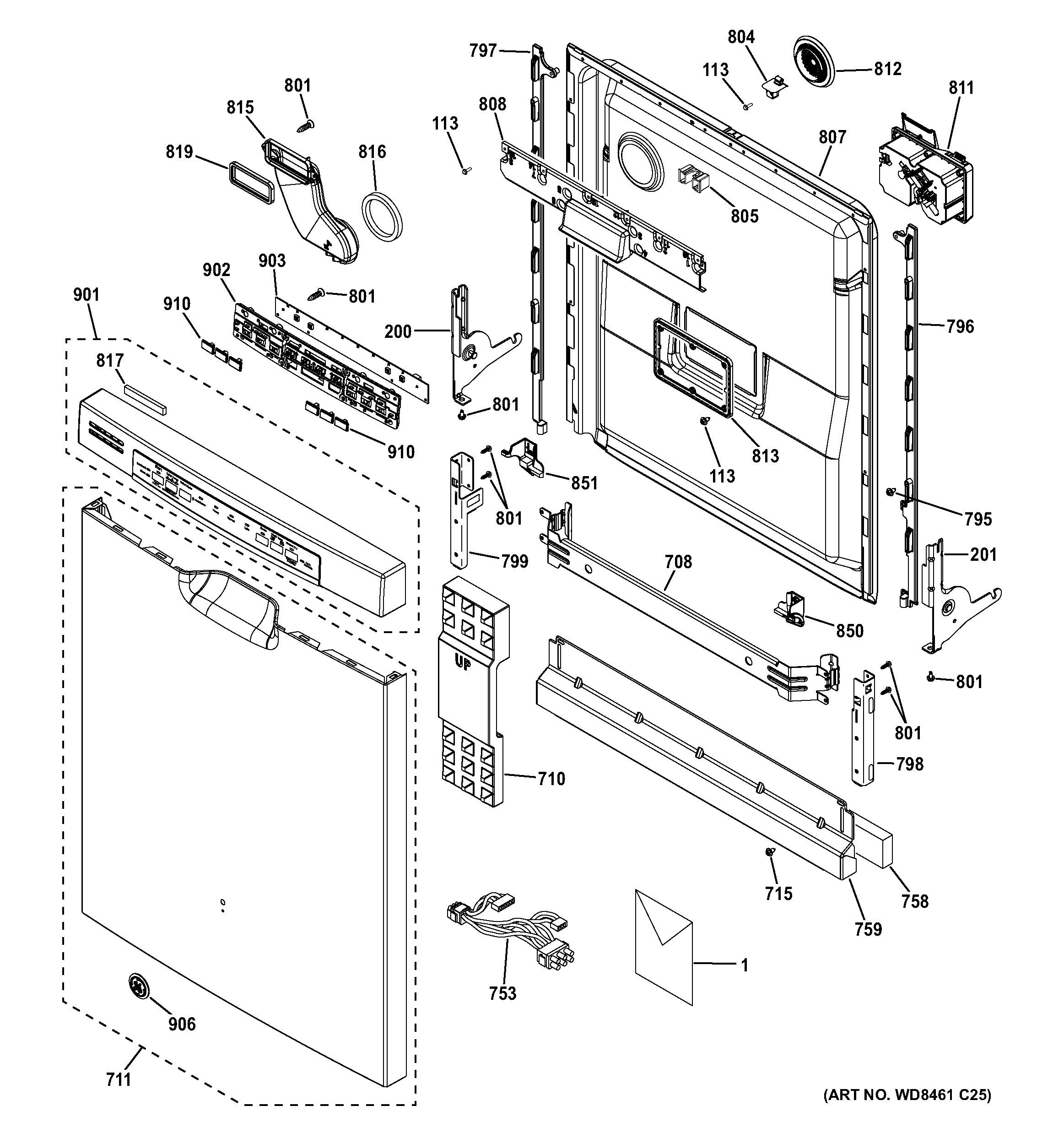 ge dishwasher parts diagram citroen relay wiring assembly view for escutcheon and door gdf570ssf6ss