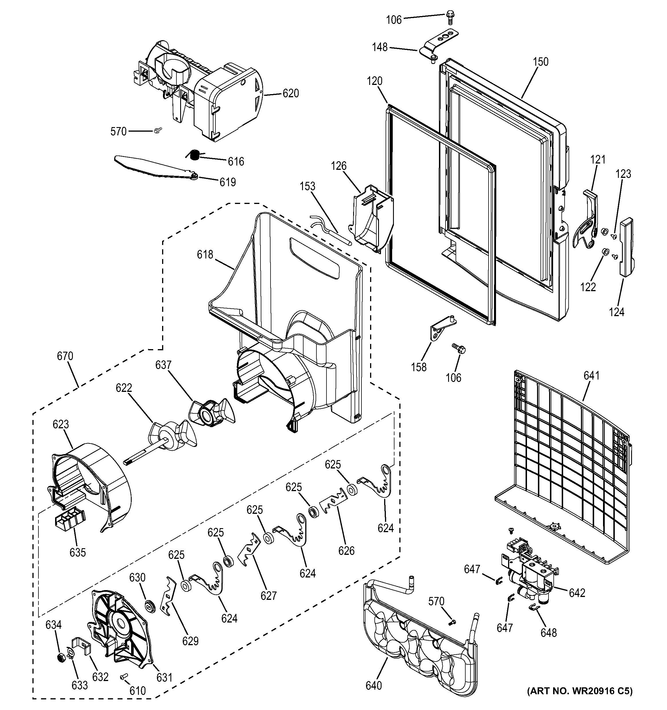 general electric refrigerator parts diagram 1988 winnebago chieftain wiring assembly view for ice maker and dispenser gfe26gmhbes