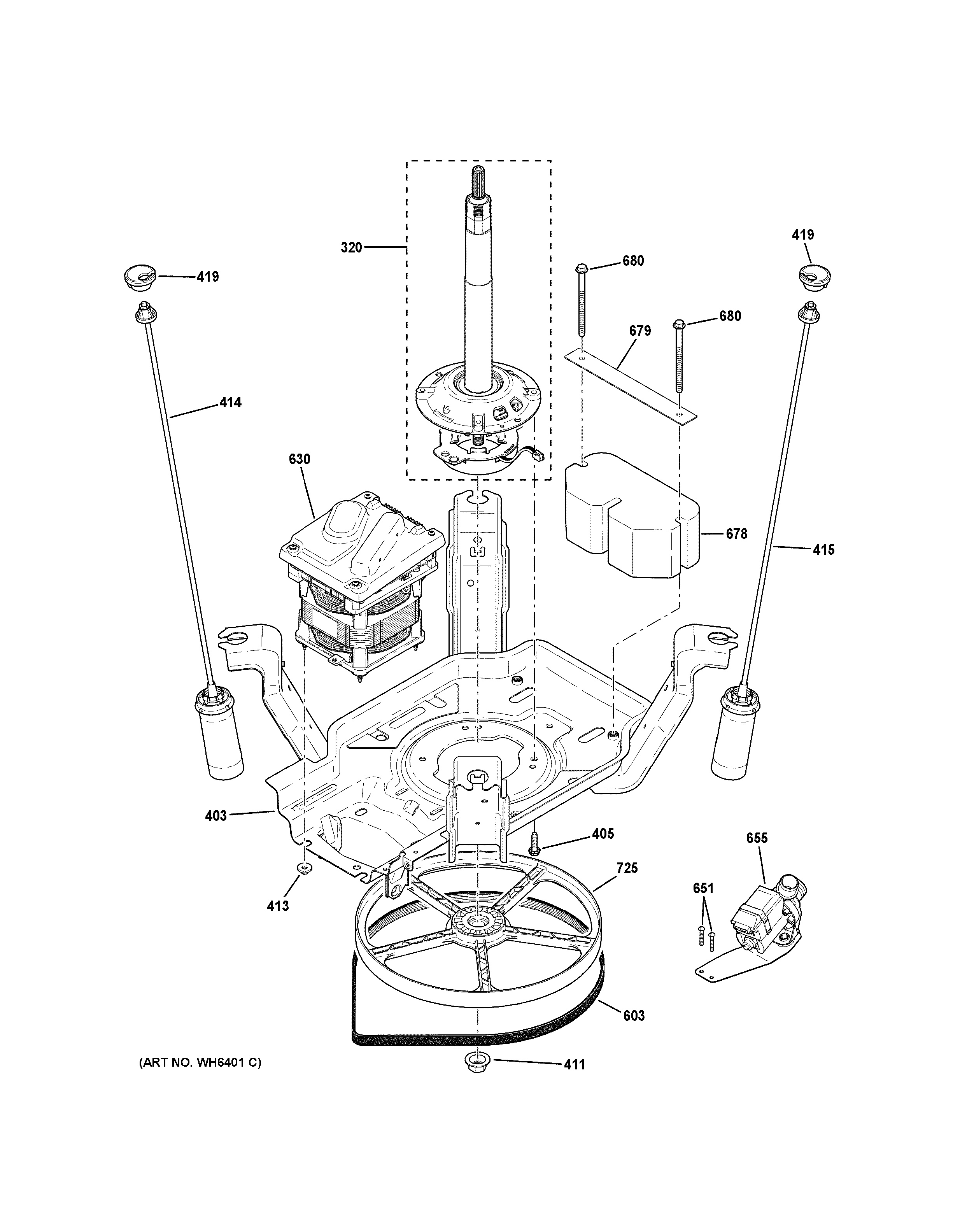 Assembly View For Suspension Pump Amp Drive Components