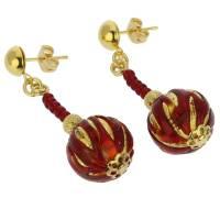 Murano Earrings | Canaletto Earrings - Gold Ruby Red