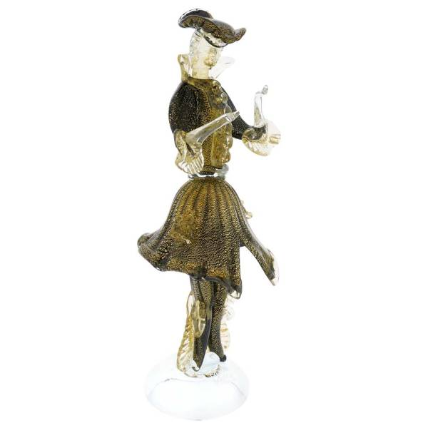 Murano Sculptures Venetian Goldonian Gentleman - Black
