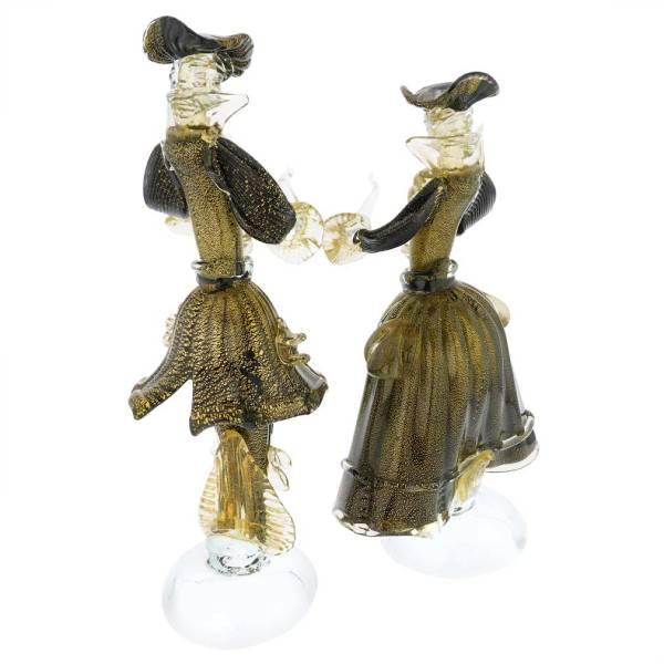 Murano Sculptures Venetian Goldonian Couple - Black And Gold