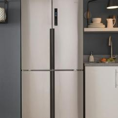 Kitchen Refrigerator Narrow Cabinet Haier Air Conditioners Compact Appliances Laundry Photo Of A Stainless Steel Quad Door Featured In Contemporary