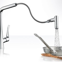 Hansgrohe Kitchen Faucet Lighting Fixtures For Low Ceilings Metris Faucets Handspray Us With Swiveling Spout And