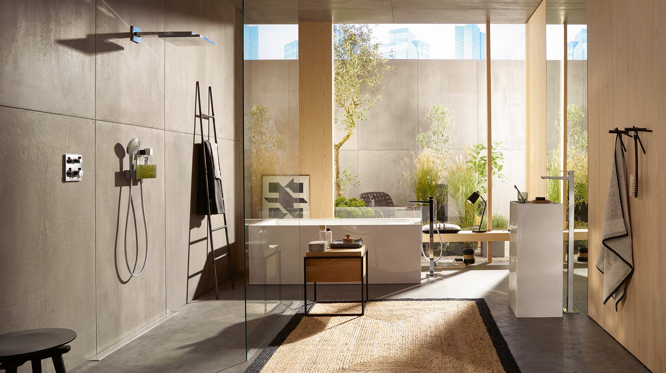 Exposed concrete and rough walls in a concrete look