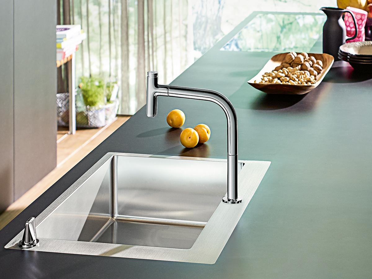 compact kitchen sink reclaimed wood shelves 汉斯格雅厨房解决方案 您的梦幻厨房创意 hansgrohe cn 敬请体验我们的高品质厨房解决方案