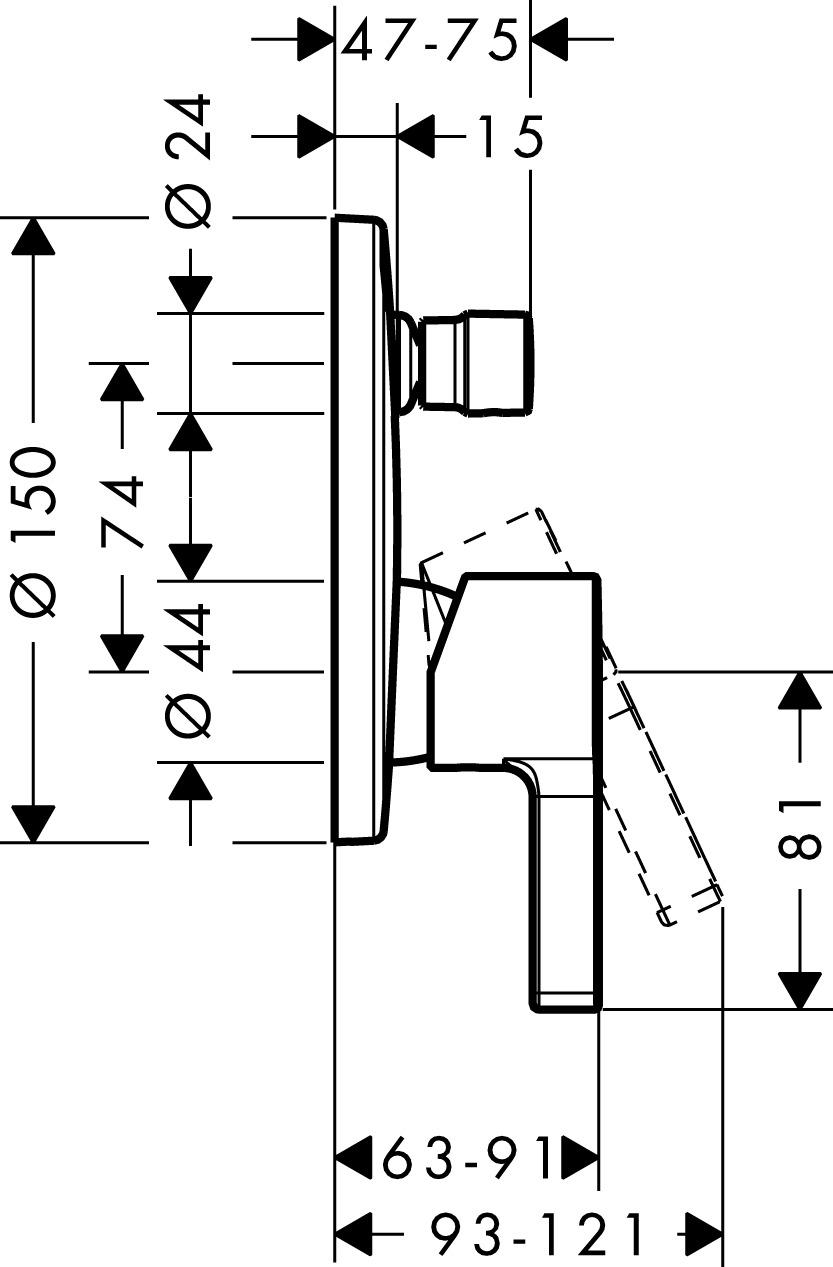 Metris S Bath mixers: 2 outlets, Chrome, Item No. 31466000