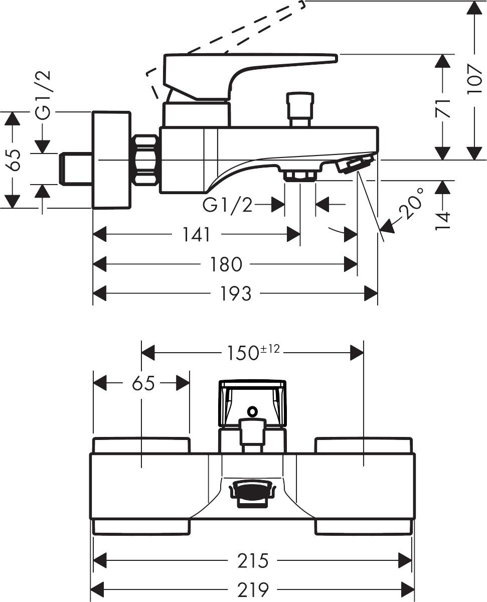 Metropol Bath mixers: designed to run 2 outlets, chrome