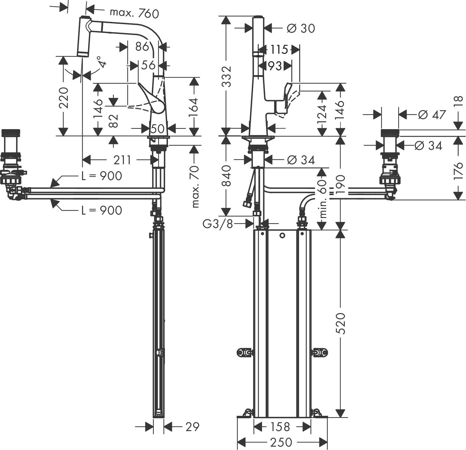 hansgrohe Grifería de cocina: Metris Select M71, M7120