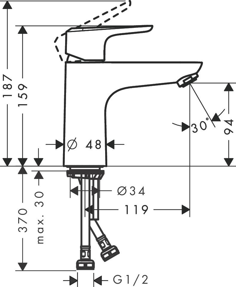 Ecos Washbasin mixers: Chrome, Item No. 14043003