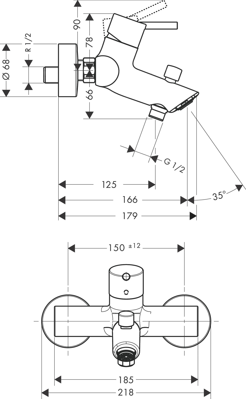 Talis Bath mixers: 2 outlets, Chrome, Item No. 32440000