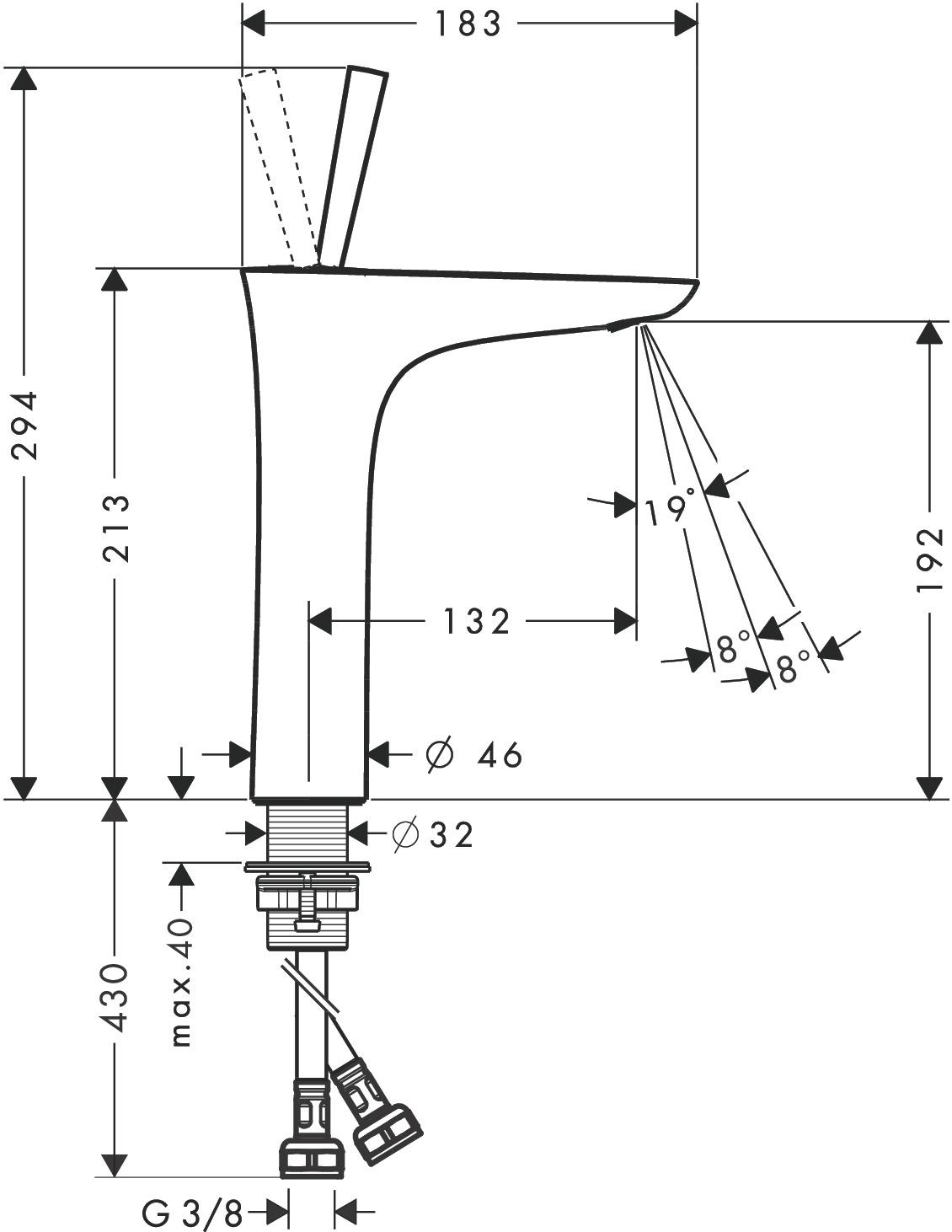 PuraVida Washbasin mixers: Chrome, Item No. 15081000