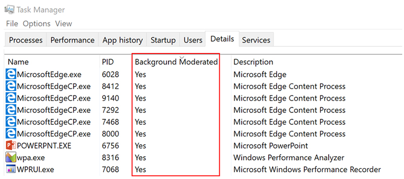 The Task Manager will show which tasks are being power throttled. (Image Source: Microsoft)