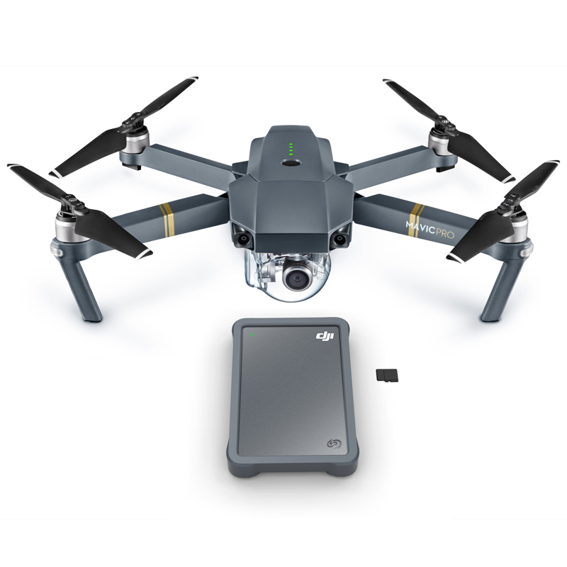 DJI Fly Drive (bottom) with the DJI Mavic Pro drone (top).