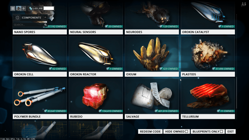 Tellurium is the newest resource that money can buy, followed by Oxium. Other new resources, like Cryotic, Argon Crystals, and all of the new stuff from Plains of Eidolon are still not available for Platinum.