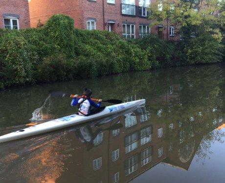 Gemma powering towards Hatton Locks  Hearts Kayak