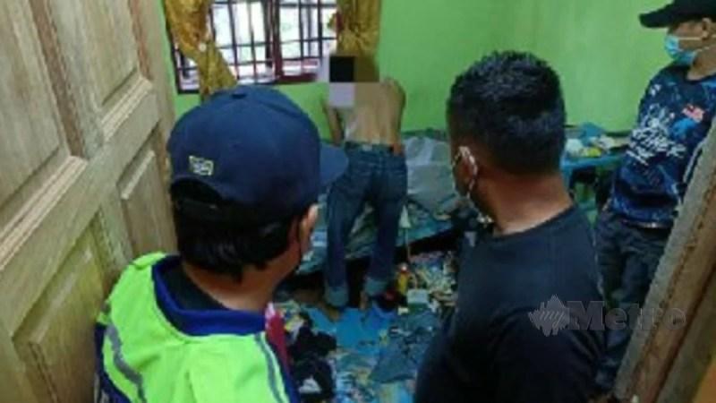 Penagih yang ditahan dalam Op Cegah AADK Kuala Muda semalam. Foto Ihsan AADK