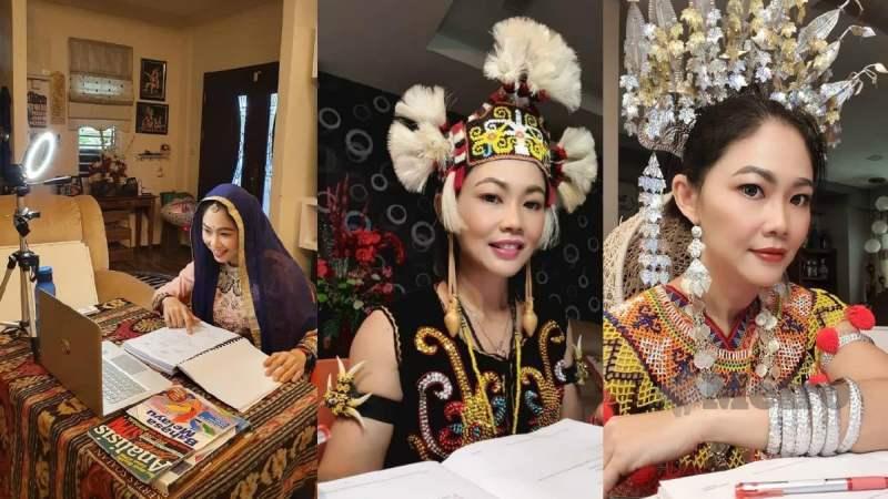 Nancy ketika mengajar secara PdP sambil mengenakan sari dan pakaian tradisional etnik Sarawak. Foto Ihsan Nancy Thomas