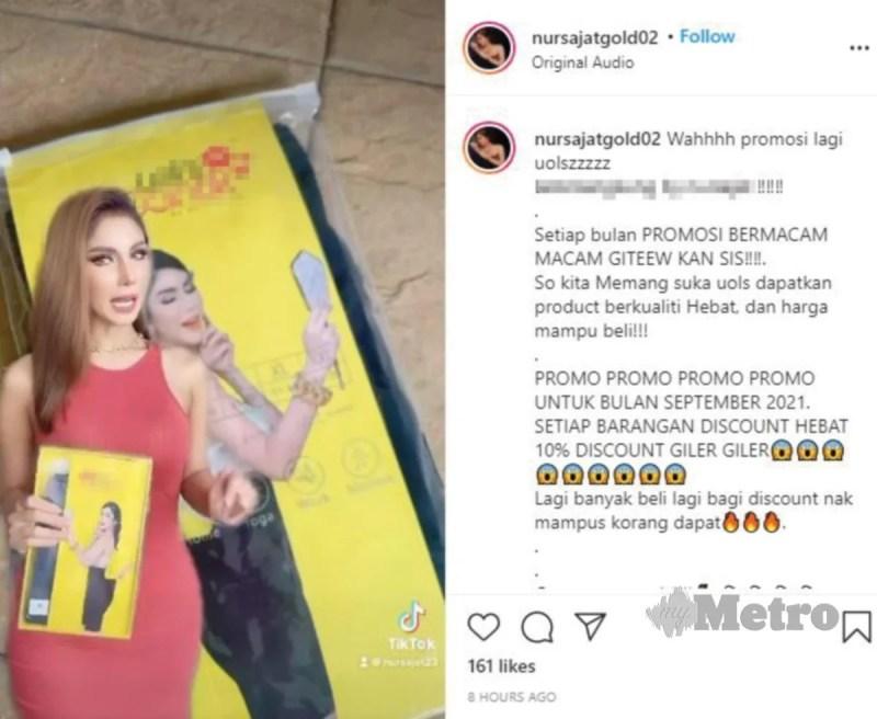 NUR Sajat dilihat mempromosikan produknya di media sosial, pagi semalam.