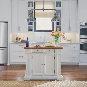 distressed kitchen island lantern pendants islands home styles americana white and oak finish