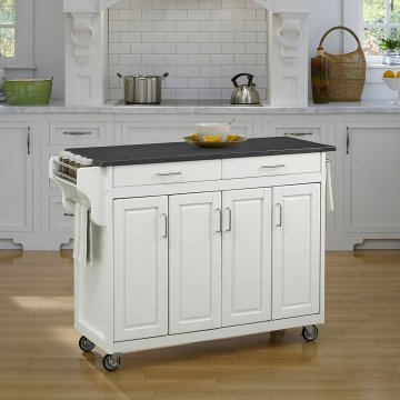 home styles kitchen cart round table set carts create a in white finish