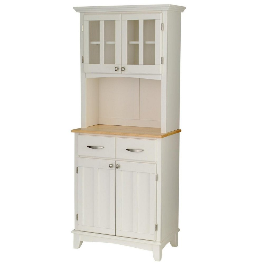 kitchen buffet hutch work station with wood top and white finish home styles