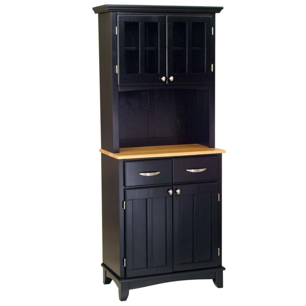 Buffet With Wood Top And Hutch Black Finish Home Styles