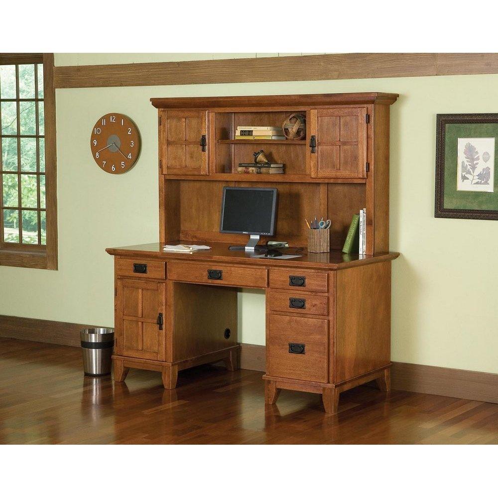 Arts  Crafts Pedestal Desk and Hutch Cottage Oak Finish
