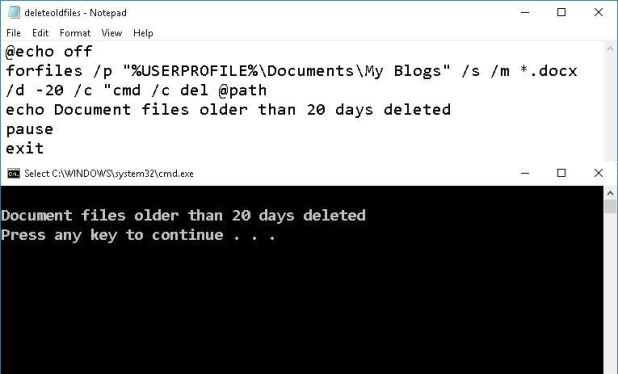 Delete old files using batch script