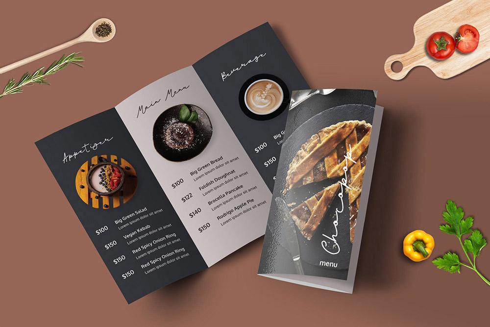 Шаблон меню ресторана Trifold от Envato