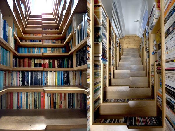 Книжная полка на лестнице