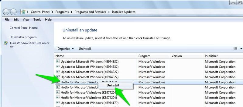 delete windows updates