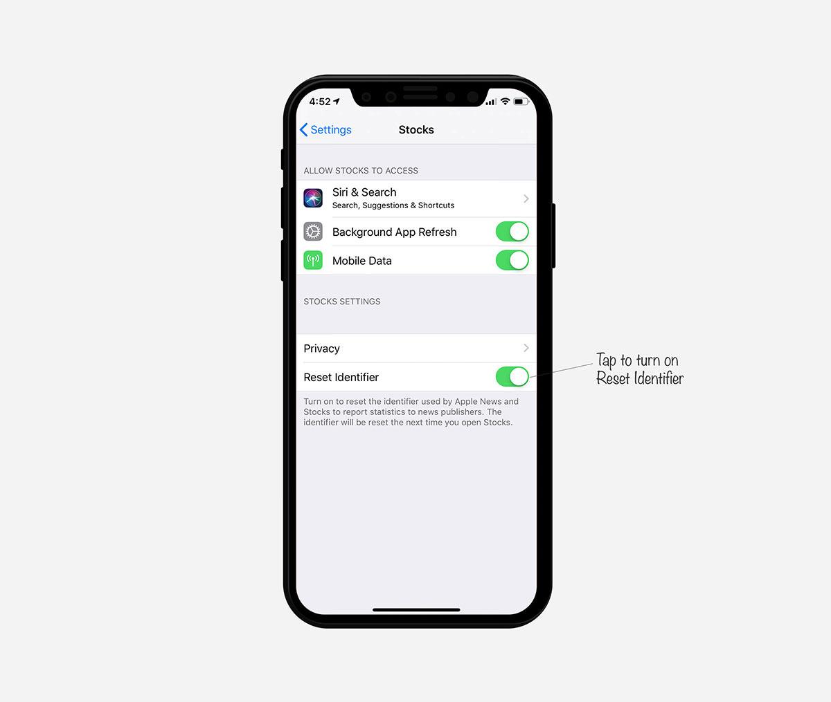 turn on app identifier
