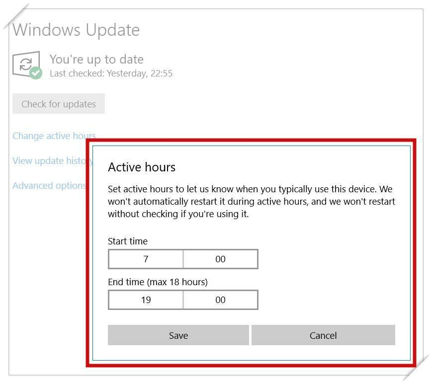 Change active update hours in Windows 10