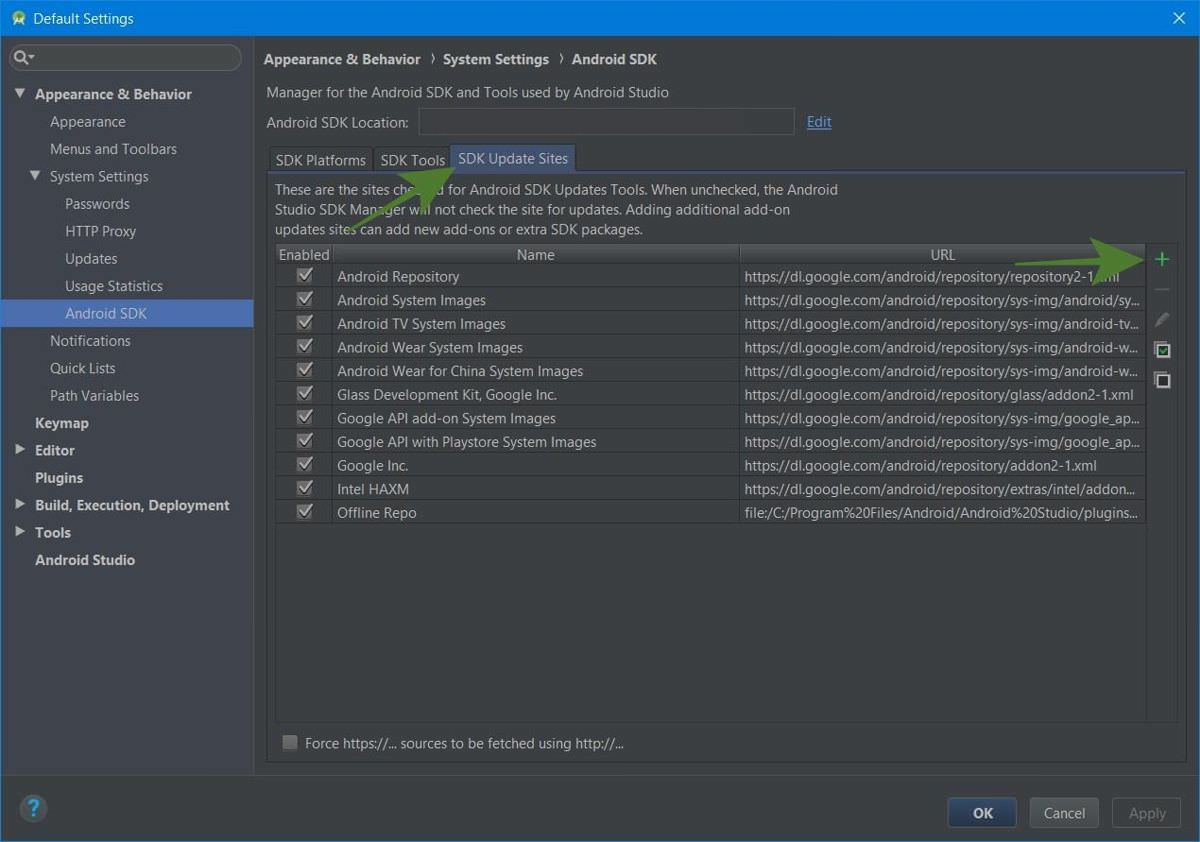 SDK Update Sites in the SDK Manager